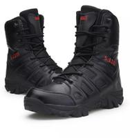 botas de combate tácticas negras al por mayor-Botas militares de otoño Zapatos de hombre Fuerza especial Tactical Desert Combat Outdoor Male tracking tactical Boot Mid-Pantorrilla Color negro US13