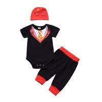 ingrosso ragazzi falsi-Nero Baby Boy Abbigliamento Abiti Pagliaccetto Pantaloni Cappello Tre pezzi Set Casual Vestiti per neonati Cravatta a righe false Toddler 0-24M
