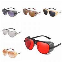 gafas de sol de colores fríos al por mayor-Punk Side Mesh Sunglasses 6 colores Steampunk Sunglasses Vintage mujeres hombres Cool Shield Side Mesh Steampunk Metal Sunglasses New LJJW166