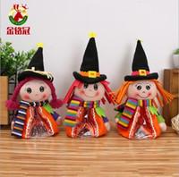 cadılar bayramı eşyaları toptan satış-Çocuklar hediye için HEDİYE Cadılar Bayramı Dekorasyon Karikatür Kabak Doll Hediye Şeker Çanta Peluş oyuncak