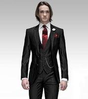 ingrosso tuxedos dello sposo di strisce nere-Smoking dello sposo nuovo di zecca nero con Groomsmen a strisce Notch Risvolto Vestito da uomo migliore Abiti da sposa / uomo Bridegroom (Jacket + Pants + Vest + Tie) A232