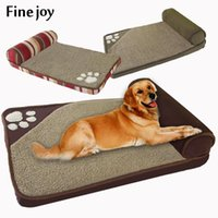casa de cachorro azul venda por atacado-Belas Joy Dog Pt azul cama Brown Dog House Sofa Kennel Praça Pillow de suprimentos Grande Dogs Cat House Camas Mat Pet