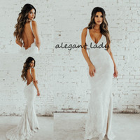 Wholesale bohemain wedding dresses resale online - Sexy Bohemain Mermaid Wedding Dresses Vintage Full Lace Backless V neck Sweep Train Trumpet Country Boho Outdoor Seaside Wedding Gown