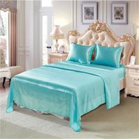 blaue seide tröster sätze großhandel-Imitation blue Silk Sommer Bettwäsche Queen-Size-Bettbezug Königin 4 Stück (1 Matratzenbezug + 1 Bettlaken + 2 Kissenbezüge) Tröster Bettwäsche-Sets
