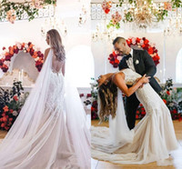 Wholesale bohemian silver resale online - Elegant Lace Appliqued Mermaid Wedding Dress Sexy Beaded Spaghetti Open Back Beach Bohemian Court Train Bridal Gown Custom Made