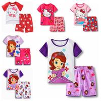 pantalones cortos de algodón para niñas al por mayor-New Lovely Girls Summer Cotton Ropa Casual Tshirt + Shorts Pijamas para niños Conjuntos de ropa Ropa de bebé Ropa de dormir