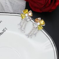 Wholesale high quality cubic zirconia stones resale online - high quality rose white gold plated cubic zirconia stone tassel charm earrings for women new arrival luxury fashion jewelry