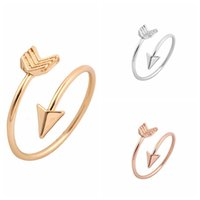 Wholesale adjustable arrow ring for sale - Group buy Retro Personality Rock Arrow Band Rings Alloy Adjustable Open Cuff Ring Jewelry Of Women Valentine Day Gifts mr E1