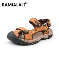 мужские кожаные сандалии оптовых-Ramialali  Genuine Leather Men's Sandals 2019 New Summer Sandals Men Beach Fashion Casual Shoes Slippers Big Size