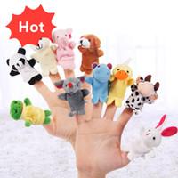 пальцы животных оптовых-Даже мини-животных палец Детские игрушки плюша Finger Куклы Говорящие Реквизит 10 группа животных Чучела Плюс Животные Чучела Игрушки Подарки замороженные