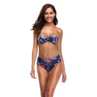 conjuntos de bikini sin tirantes al por mayor-Nuevo Bikini sin tirantes Mujeres traje de baño Estampado de flores Traje de baño Cintura alta Traje de baño S-XL Chica sin espalda Bandeau Bikini Set Body