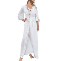 klassische slips frauen großhandel-Frauen-klassisches festes weißes Spitze-Patchwork-Dreiviertel höhlen heraus beiläufiges Verband-Hülsen-Kleid-Feiertags-kurzes Strand-Kleid # P5 aus