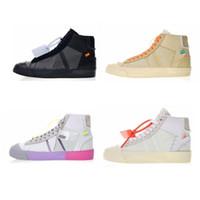 orta öğreticiler toptan satış-2019 Blazer Ayakkabı Orta Sneakers Basketbol Erkekler Kadınlar Için Spor Eğitmenler Siyah Beyaz Pirinç Kaykay Ayakkabı Kutusu Ile