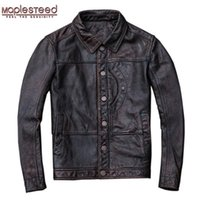 ingrosso giacca di pelle marrone rosso-Maplesteed Vintage Red Brown Leather Jacket Men 000% pelle di mucca naturale giacche in pelle vera pelle bovina Mens Coat Autunno M072