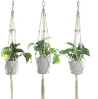 ingrosso vasi da fiori d'epoca-Macrame Plant Hangers Outdoor Indoor Wall Hanging Fioriera Net Basket Flower Pot Holder Vintage Novità Home Decor regalo 105 centimetri