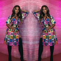 recién llegados vestidos de fiesta al por mayor-Nueva llegada Side Split Irregular Dress Women Button Up manga de tres cuartos vestido de primavera vestido de fiesta de impresión de la novedad