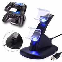 Wholesale ps4 controller handle for sale - High quality for PS4 Game Controllers Slim aircraft double charge double handle game charger direct double charge wireless charger bracket