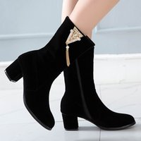 Wholesale red platform booties for sale - Group buy womens boots square heel pointed toe winter boots flock Rhinestone tassel Waterproof Platform Booties botines mujer
