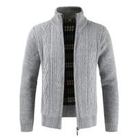 erkek iş hırka toptan satış-Oufisun yepyeni Moda Kalın Kazak Hırka Coat Erkekler Slim Fit Süveter Örgü Fermuar Sıcak Kış İş Stil Erkekler Giyim SH190930