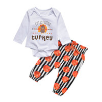 Wholesale baby thanksgiving shirt resale online - Retail Newborn Baby Thanksgiving Romper sets turkey letter printed shirt pumpkin pants Outfits Suits Kids tracksuit Children clothing