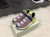 mejores botas de carrera al por mayor-Mejor Calidad 2019 Race Pharrell Williams Tr humana Hu Trail Running Shoes Hombre PW real Botas NERD solares Paquete auténticos zapatillas de deporte Deportes