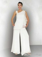 Wholesale two one wedding gown picture resale online - Modest Two Pieces Ruched Mother of the Bride Pants Suit Newest Simple One Shoulder Long Chiffon Wedding Party Gowns Custom Made