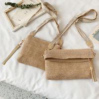 Wholesale crossbody sling messenger bag purse resale online - Fashion Weave Shoulder Crossbody Bags Women Woven Straw Square Messenger Handbag Straw Weave Messenger Sling Purse