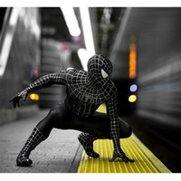 ingrosso costume nero di verme spiderman-Uomo Muscle Black Spiderman Collant Handsome Black Venom Spider Siamese Collant Spiderman Cosplay Suit Tema Costume Servizio speciale