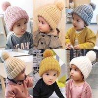 Wholesale cute boys cap resale online - Cute Baby Knitted Hat Fashion Kids Warm Winter Soft Fur Pom Ball Caps Candy Color Crochet Beanie Cap TTA1455