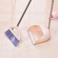 Wholesale plastic brooms dustpans resale online - 2 Set Latest Plastic Dustpan Soft Bristle Broom Thicken Household Sweep Floor Multi functional Non Slip Handle Cleaning Tool T200628