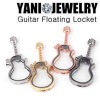 Wholesale slide guitar resale online - 10pcs Chic Colorful Alloy Guitar Shape Floating Locket Pendant Magnetic Memory Glass Locket for Charms diy Accessories