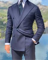 damadın lacivert elbisesi toptan satış-Monc 2020 Kruvaze Lacivert Resmi En İyi Erkek Smokin Takım Elbise Özel İki Adet (Blazer + Pantolon) Damat Erkek Takım Elbise Tasarımcısı Hoodies