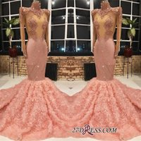 Wholesale maternity evening dresses online - Glamorous Pink Long Sleeve Prom Dresses Mermaid Sequins Rose Flowers Evening Gowns Party Dresses Wear Custom Size