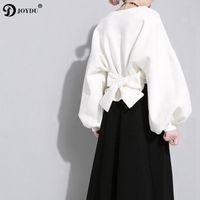 koreanische schnürsenkel neue designs großhandel-JOYDU Koreanische Design Hoodies 2019 Neue Mode frauen Sweatshirt Einfarbig Laterne Hülse Zurück Lace Up Bogen Neuheit Pullover Top