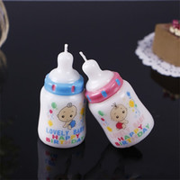 Wholesale wedding gifts favors candles online - Feeding Bottle Candle Cake Decorate Cartoon Happy Birthday Baby Shower Favors One Year Old Party Lovely Hot Sale sjE1