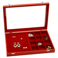 Wholesale jewelry markets resale online - Red Jewelry Organizer Display Tray with Glass Lid Pendant Ring Necklace Earrings Crafts Market Exhibition Carrying Versatile Cases cm