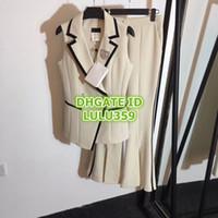 yapay elmas broş mini toptan satış-Kadın Rhinestone İki Adet Pantolon Elmas Broş Kontrast Renk Lap Yelek + Yüksek Bel Bölünmüş Boynuz Pantolon Takım Elbise S-M-L-XL 19