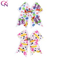 Wholesale car accessories for girls resale online - 6 BACK TO SCHOOL Cheer Bow for Girls With Clips Resin Cars Patch Hair Bow for Students Print Grosgrain Ribbon Hair Accessories