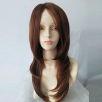 Wholesale brown wavy medium length wigs resale online - Synthetic Wavy Wig Curly inche Medium length daily style Christmas Wig Style Long Wig Light Brown Hair For Fashion Women