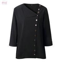 Wholesale girls collar neck shirt resale online - Winter Blouse Casual Lapel Neck Shirt Ladies Long Sleeve Buckle Girl Top Irregular Diagonal Collar Button Female Clothing