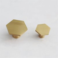 Wholesale brass kitchen cabinet knobs resale online - Brass Cabinet Handle and Knobs Hexagonal Shape Kitchen Drawer knobs Wardrobe Handles Single Hole Nordic handles
