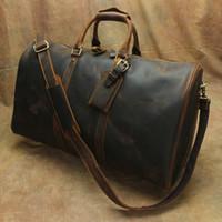 Wholesale business travel organizer resale online - Men Genuine Leather Travel Totes Duffel Bags Cowhide Cross Body Bags Sport Outdoor Packs Shoulder Bag Organizer Bag Large Capacity