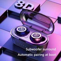 ingrosso cuffie costruite mic-Auricolare Bluetooth wireless TWS Cuffie sportive impermeabili 5.0 con scatola di ricarica Cuffie con controllo touch Cuffie con microfono incorporato