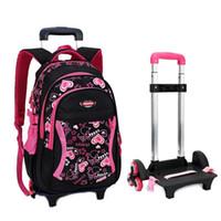 carro de equipaje chicos al por mayor-Hot Boys Trolley mochila Girls Wheeled School Bag niños Viaje Maleta Maleta sobre ruedas niños Rolling book bag desmontable