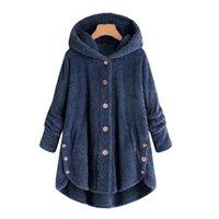 Moda Donna Button Coat Fluffy Tail Top con cappuccio Pullover maglione  allentato cappotto invernale donna giacca in misto lana giacca teddy 3c82104a82dd