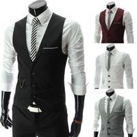 ingrosso nuovi stili di biancheria intima-Zogaa di nuovo stile degli uomini del V-collo del collare della maglia Moda Uomo Color Match Casual Gilet monopetto Business Suit Underwear 5XL