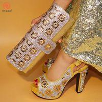 женская обувь оптовых-2018 Золотая Африканская обувь и сумка набор итальянская обувь с подходящей сумкой лучшие продажи дамы подходящая обувь и Италия