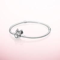 joyeros de plata para niñas al por mayor-925 Conjuntos de brazaletes de cadena de mano de plata esterlina Caja original para Pandora Retrato Broche pulsera del encanto Mujeres Niñas joyería de lujo del diseñador