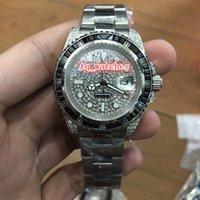 cara de plata reloj deportivo al por mayor-Reloj de lujo para hombre, reloj de pulsera de acero inoxidable plateado, reloj de cara de diamante Reloj mecánico automático Relojes deportivos