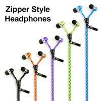 Wholesale headphones mic for cellphones resale online - 3 mm Jack Zipper headphones In Ear earbuds Bass Music Earphone with Mic headset handsfree ear buds for Huawei Xiaomi cellphone